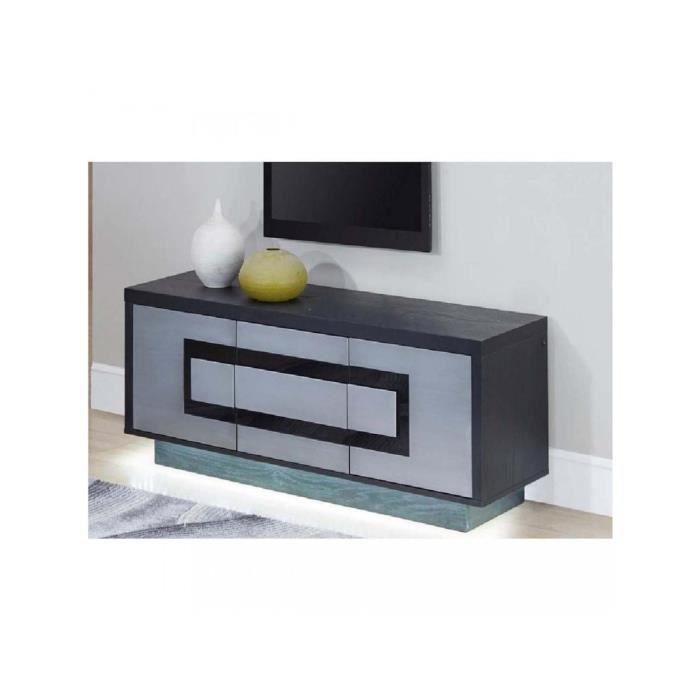 BOBOCHIC® Meuble TV 3 portes Meteor Gris argent & Noir Gris Design contemporain Produit Testé et Approuvé 160x45x50