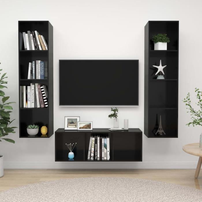 WONG Ensemble de meuble TV suspendu 3 pcs Noir brillant Aggloméré