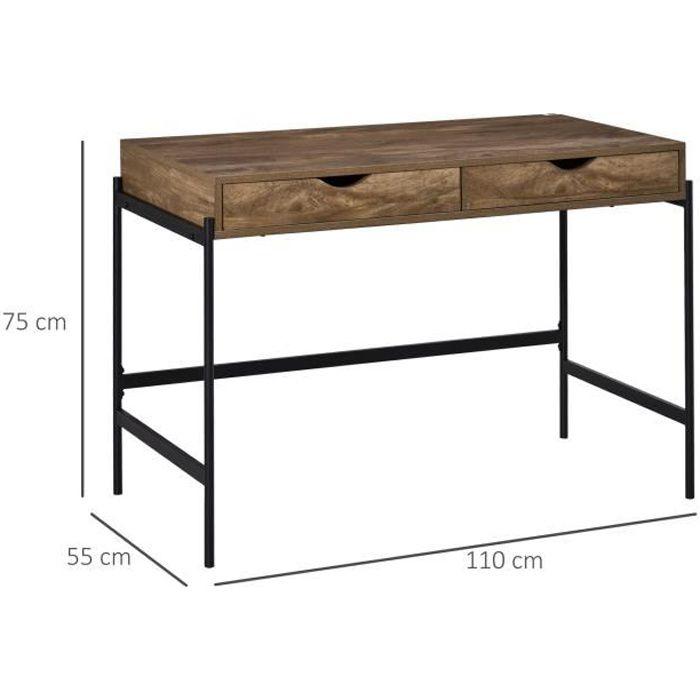 Bureau style industriel dim. 110L x 55l x 75H cm cm tiroir + 2 tiroirs piètement métal noir plateau MDF aspect bois