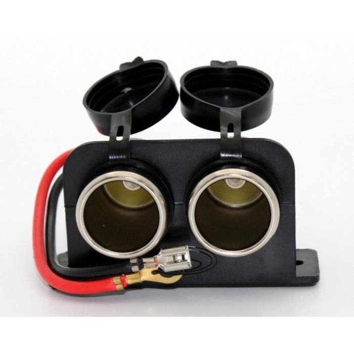 Double Prise Allume-cigare 12/24V + Câble 15.5 cm