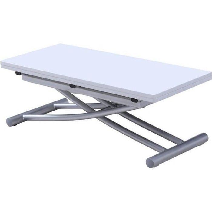 Table basse relevable extensible COLIBRI finition laquée blanc 90*45 cm blanc MDF Inside75