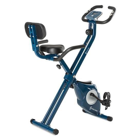 Capital Sports Azura Vélo d'appartement Pro en X de 3 kg, charge 100 kg max, pulsomètre - bleu