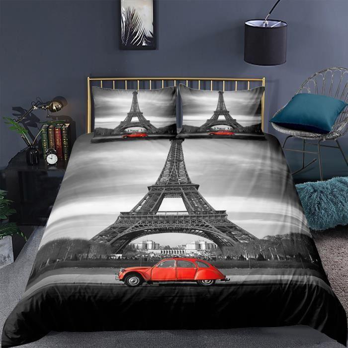 Tour Eiffel et voiture rouge Parure de lit 3 pieces 1 housse de couette 220*240cm et 2 taies d'oreillers 63*63cm
