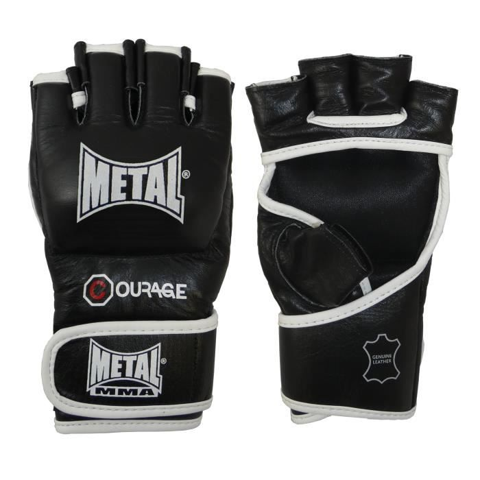 -Gants MMA en cuir Métal boxe Courage-M-Noir-M--M-Noir--------------Noir-M