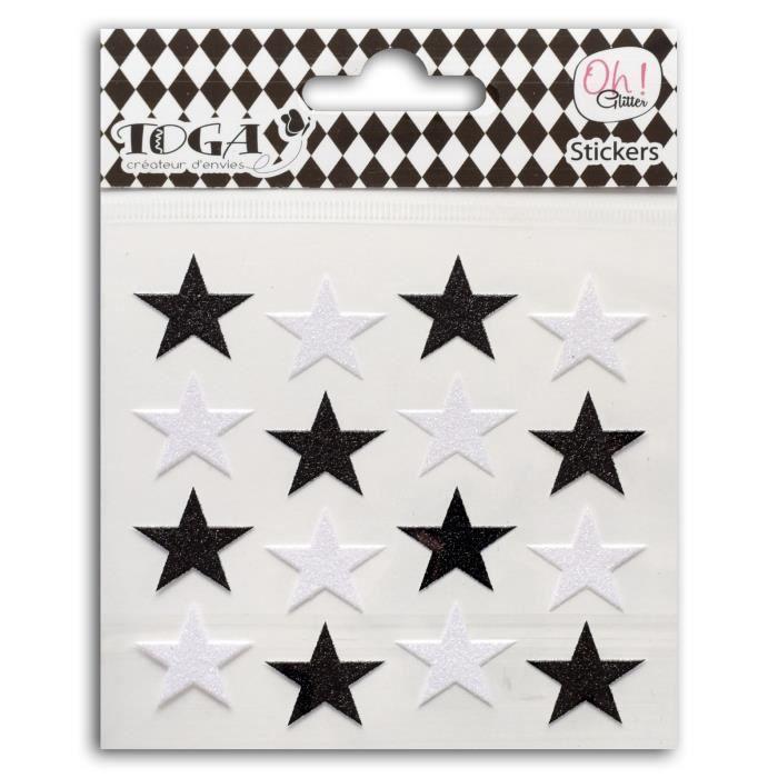 OH ! GLITTER 16 Étoiles Glitter Noir/Blanc