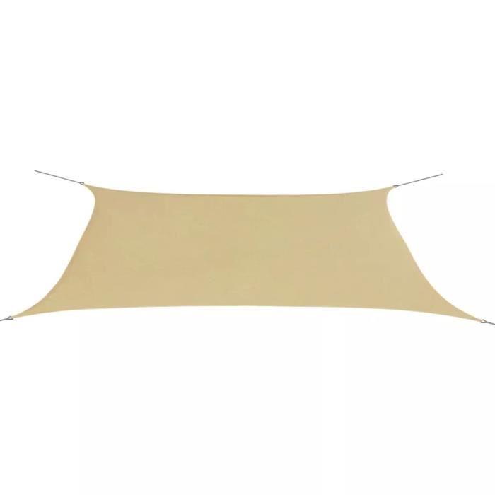 Parasol en tissu Oxford rectangulaire 4x6 m beige Beige