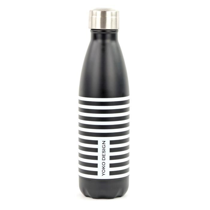 YOKO DESIGN Bouteille isotherme Parisienne - Noir et blanc - 500 ml