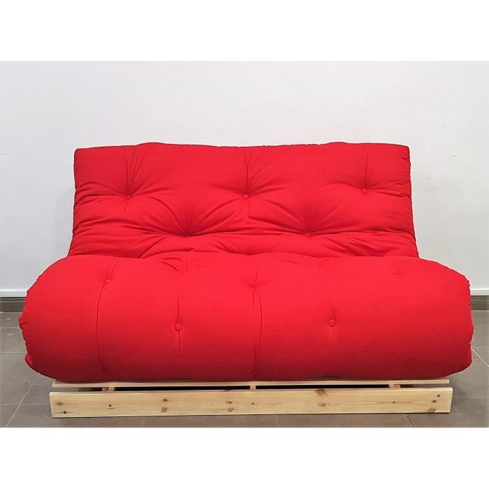 Canape Lit Convertible Roots Naturel Futon Rouge 140x103x80 Cm