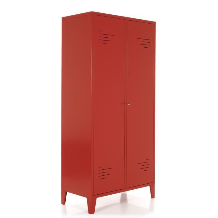 lofter armoire 2 portes en m tal rouge achat vente. Black Bedroom Furniture Sets. Home Design Ideas