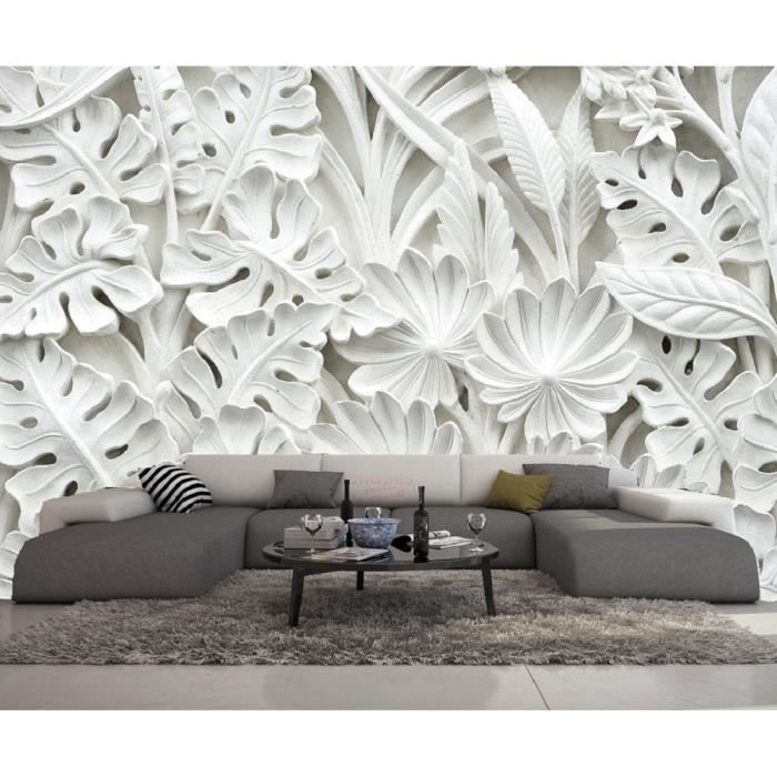 papier peint 3d trompe l 39 oeil moderne blanc 415cmx254cm new york nature plage design achat. Black Bedroom Furniture Sets. Home Design Ideas