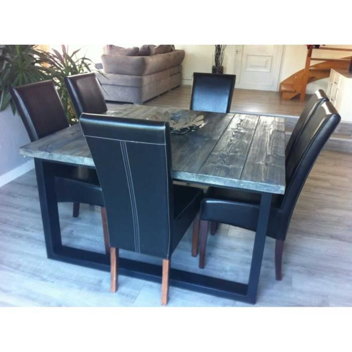 table de salle manger industriel achat vente table a manger seule table de salle manger. Black Bedroom Furniture Sets. Home Design Ideas