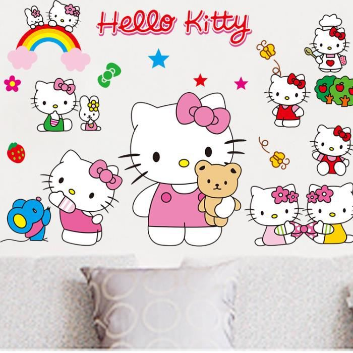 stickers muraux enfant hello kitty achat vente stickers cdiscount. Black Bedroom Furniture Sets. Home Design Ideas