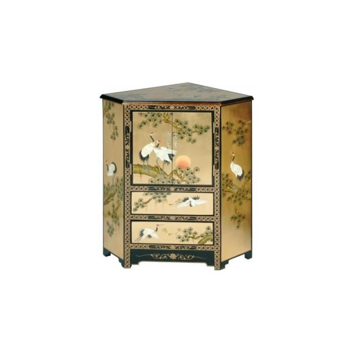 Meuble d 39 angle chinois laque d 39 or 2 portes 2 tiroirs for Petit meuble chinois