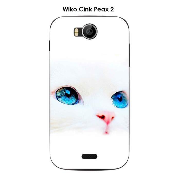 Coque Wiko Cink Peax 2 design Chat blanc yeux bleu