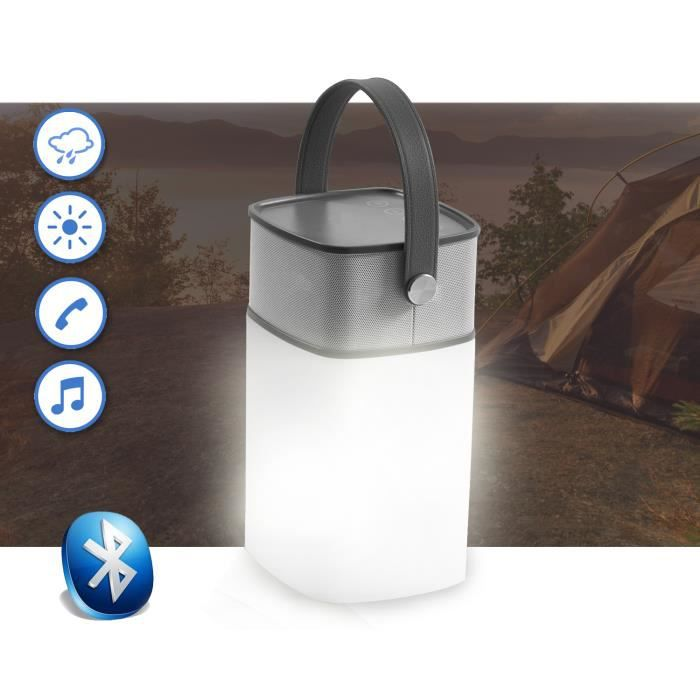Enceinte led bluetooth ext rieur aux mains libre for Lampe sans fil exterieur