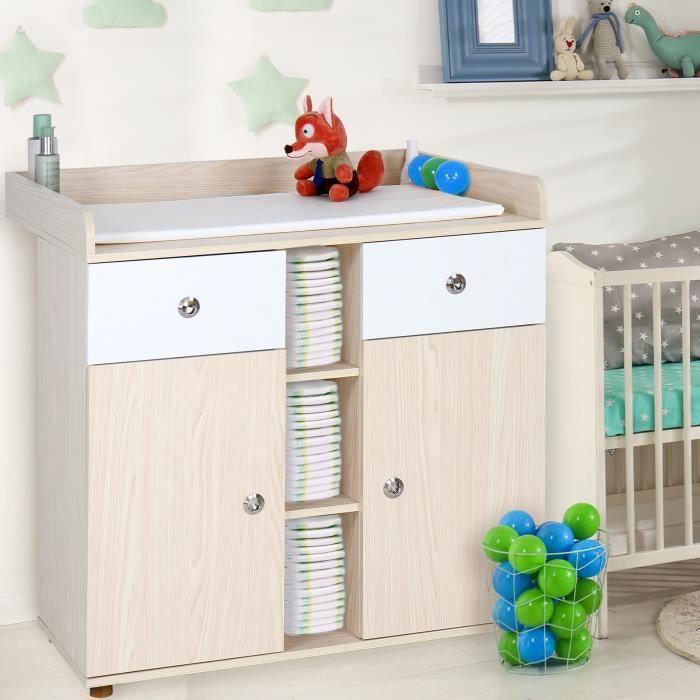 Commode à Langer Table Plan Étagère 3 Tiroirs 1 Compartiment Ouvert pour Bébé