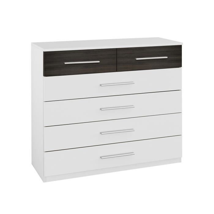 Commode contemporaine 6 tiroirs blanche weng kamaro achat vente commode - Commode 6 tiroirs blanche ...