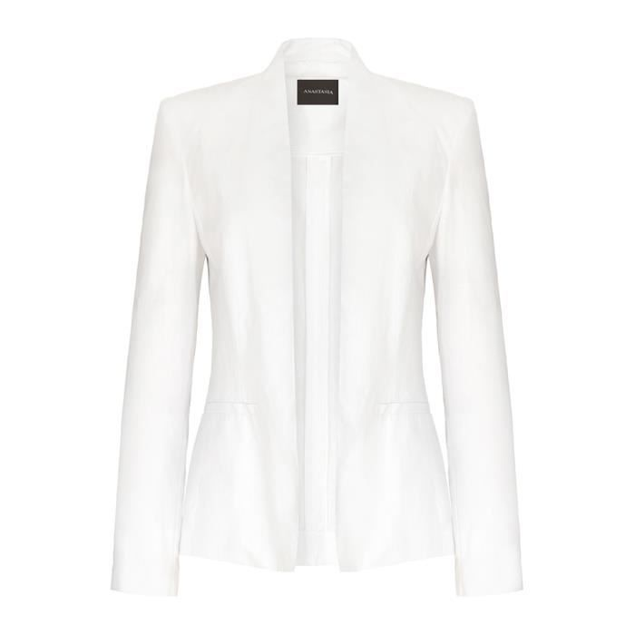 anastasia blazer coton blanc femme blanc achat vente veste cdiscount. Black Bedroom Furniture Sets. Home Design Ideas