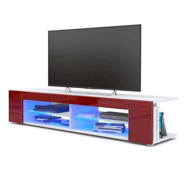 MEUBLE TV Meuble Tv blanc  mat  Façades en bordeaux laquées