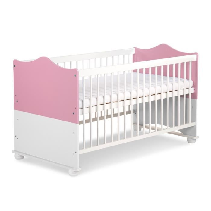 Lit b b princesse rose et blanc volutif couleur marketing rose composition bois rose - Lit bebe blanc et bois ...