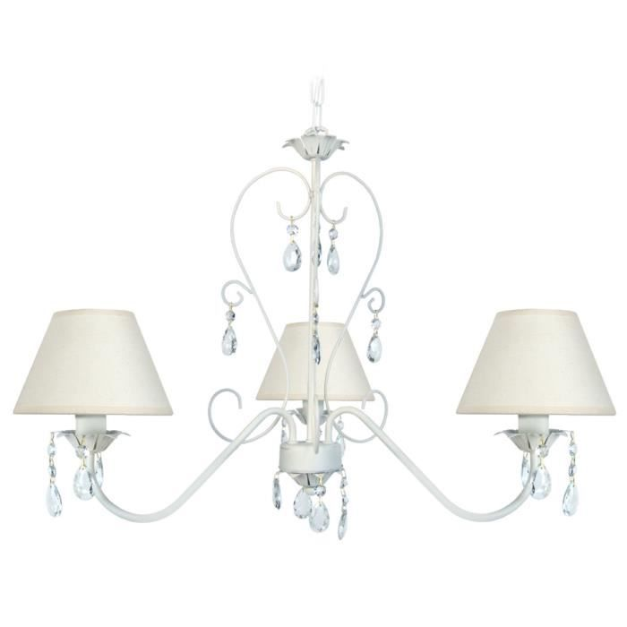 lustre 3 lumi res en m tal avec pampilles en verre diam tre 60cm baroka blanc c rus avec abat. Black Bedroom Furniture Sets. Home Design Ideas