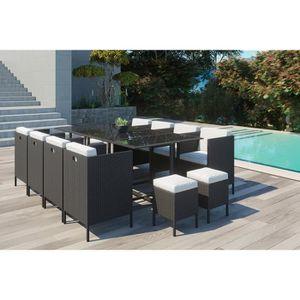 Ensemble table et chaise de jardin Le Chupa : salon de jardin encastrable 12 places e