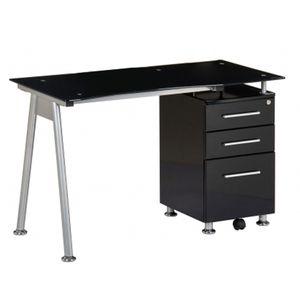 BUREAU  Bureau / Table informatique NERO, noir / verre …