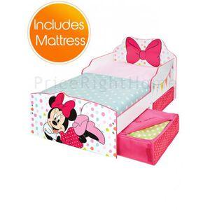 LIT COMPLET Lit Minnie Mouse Toddler avec rangement et matelas