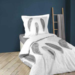 HOUSSE DE COUETTE ET TAIES Parure de lit imprimée douceur et plumes Blanc 140