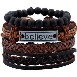 BRACELET - GOURMETTE Bracelet en cuir de vachette pour hommes main brac