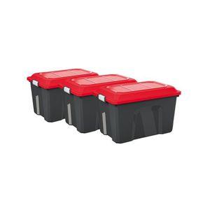 COFFRE - MALLE Malle rang 60l lot de 3 locker noir-rouge ref.4552