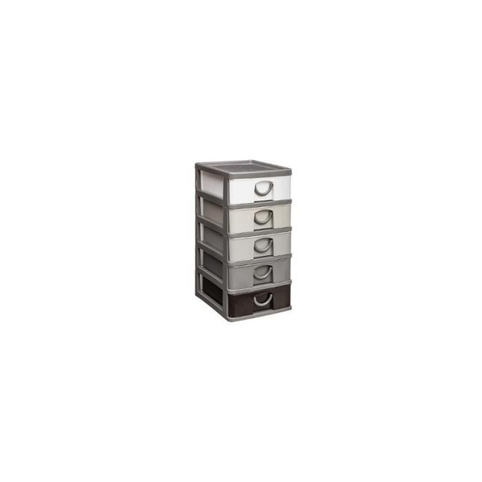 Etagères et commodes - Rangement 5 tiroirs - 9 x 13 x 19 cm - Plastique - Gris