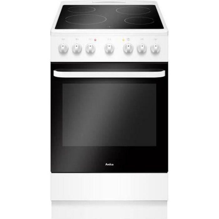 Amica - cuisinière vitrocéramique 65l 4 feux blanc - acv603b
