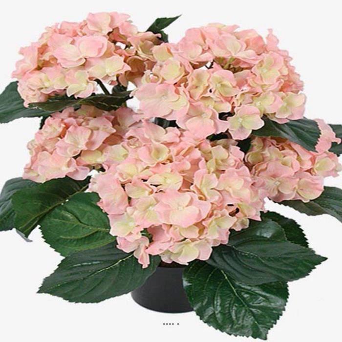 Hortensia en pot artificiel leste H 40 cm 5 superbes tetes Rose-crème