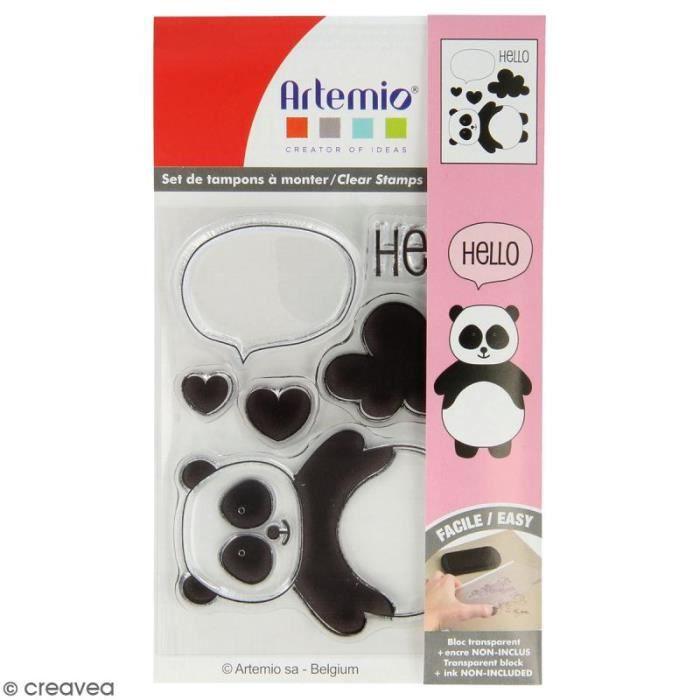 Tampon clear Artemio - Adorable Panda - 6 pcs ampons transparents Artemio, parfaits pour le scrapbooking, la carterie et le Home