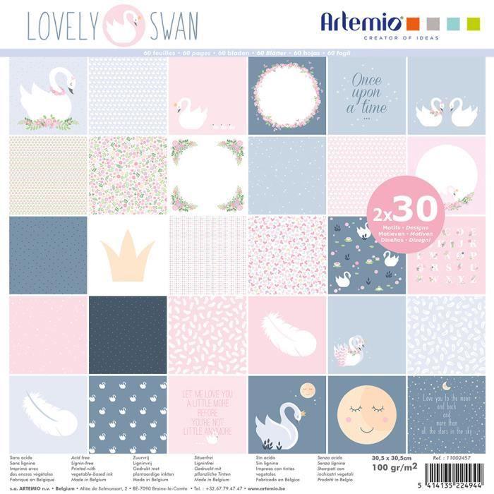 Bloc de 60 feuilles de papier scrapbooking 30x30 cm 'Lovely Swan' d'Artemio