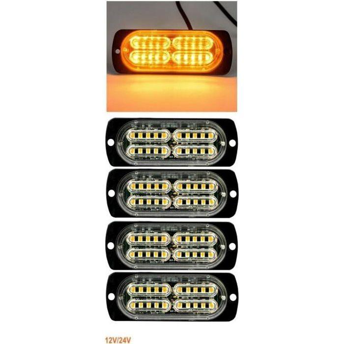 4pcs 20 Led Feux De Gabarit Orange Clignotant Flash Stroboscopique 12-24V Camion