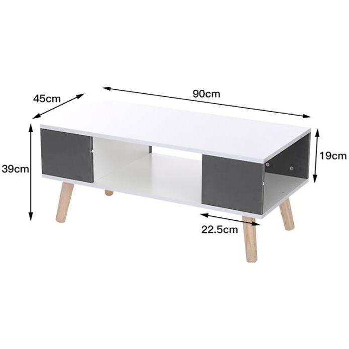 SOARROC Table basse contemporain laqué blanc et gris 90x45cm