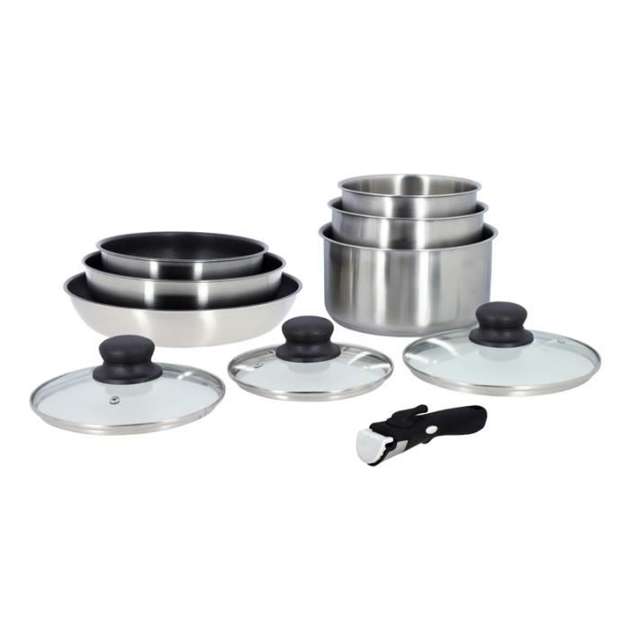 LOT 10 PCS INDUCTION INOX CASSEROLES + POELES + COUVERCLES + POIGNEES