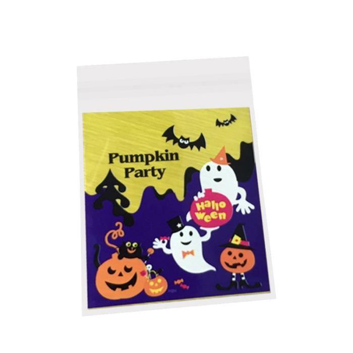 100 pcs sacs en plastique mignon Halloween fantôme auto-adhésif et petite pochette pour biscuit HANDBAG