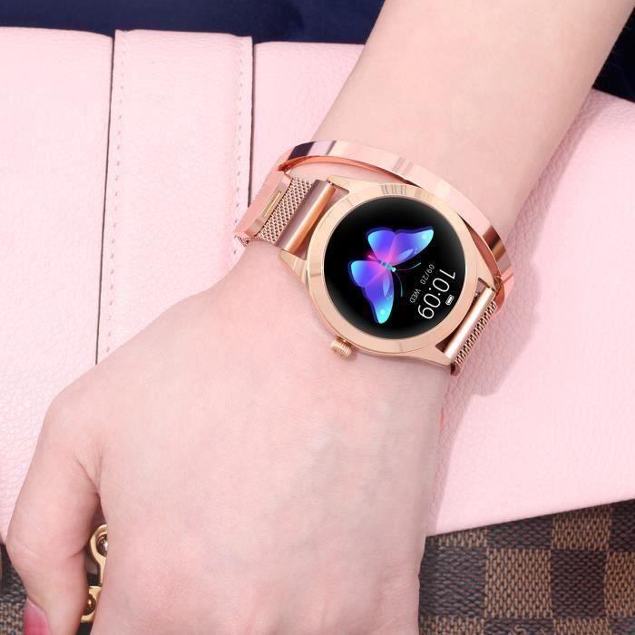 Montre Connectée Femmes Sport Rose KW10, Imperméable Bluetooth Surveillance Santé Cardiaque Sommeil Bracelet En Acier Inoxydable