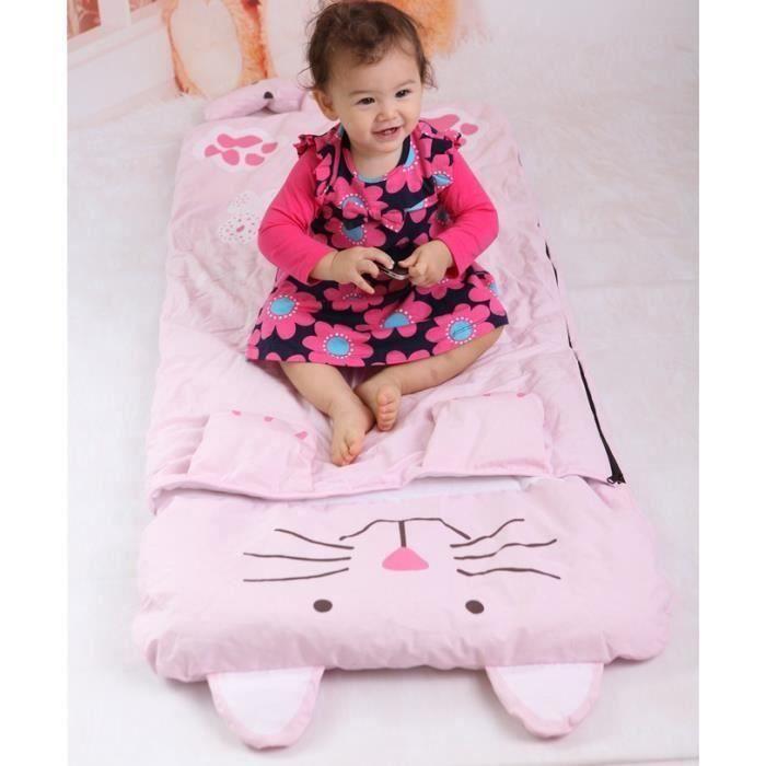 Sac de couchage pour enfants avec oreiller 140 x 60 cm motif animal mignon, Lapin rose C062D
