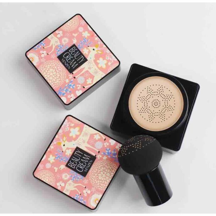 Fond de Teint Couvrant CC Crème avec Eponge Maquillage Fond de Teint Liquide pour Contrôle de l'huile Hydratante - couleur naturelle