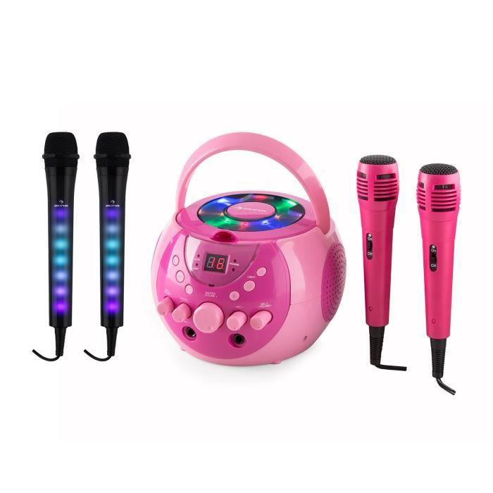 auna SingSing Dazzl Set disco karaoké portable lecteur CD CD-G USB MP3 avec lumière LED + sortie video - 2 micros inclus - Rose