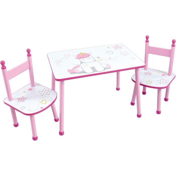 FUN HOUSE Licorne 713194 TABLE RECTANGULAIRE + 2 CHAISES pour enfant