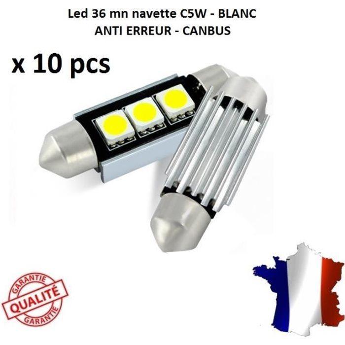 10 ampoule Navette LED C5W 36mm ANTI ERREUR CANBUS plafonnier plaque 6000k