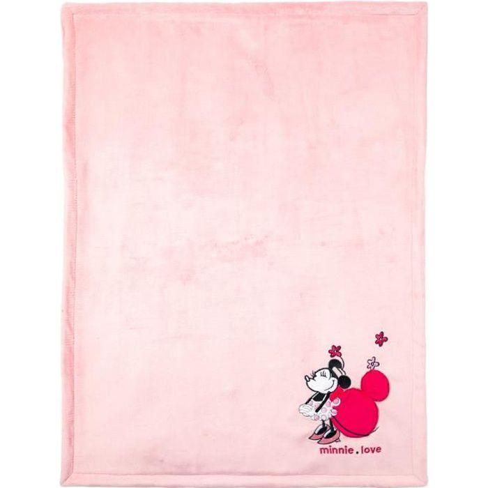 DISNEY Couverture bi-matière Minnie - 75 x 100 cm - Flanelle 100% polyester 220gr/m2