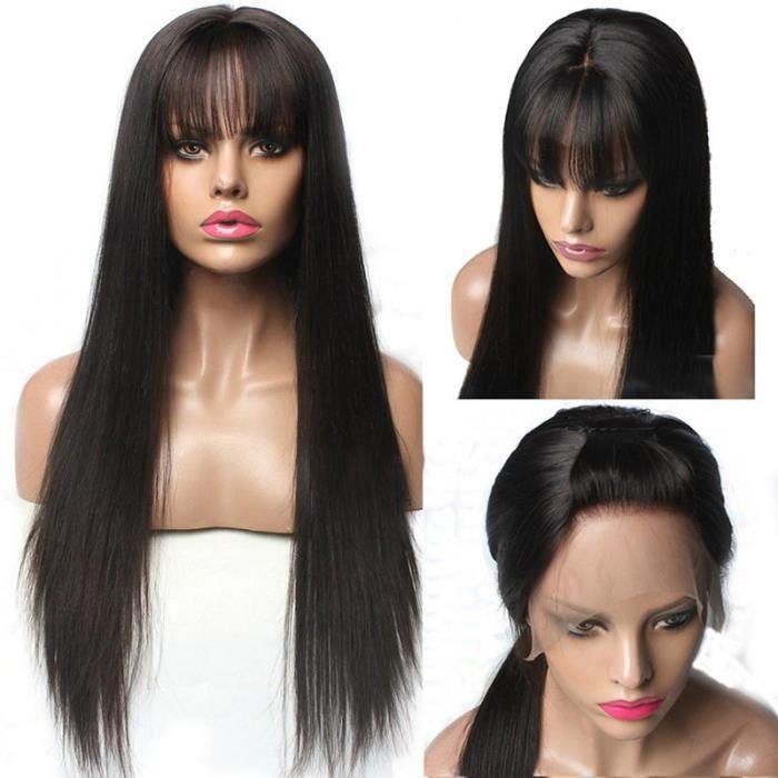 22''Dentelle Avant de cheveux humains Perruques Avec Une Frange Pour Femme Remy Brésilienne cheveux