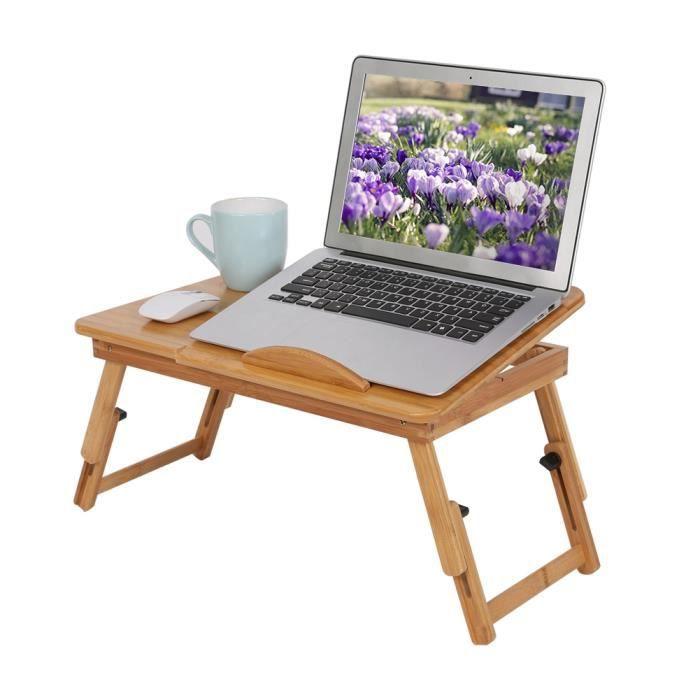 NEUF Bureau d'ordinateur Portable en Bambou,1Pc réglable étagère bambou dortoir lit tour bureau Portable livre plateau lecture