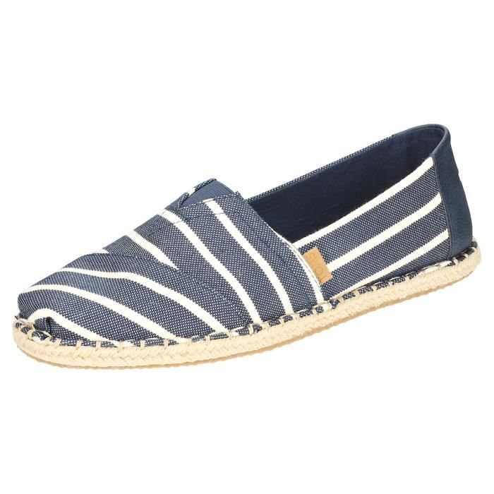 Toms Classic Riviera Stripe Homme Chaussures sans lacets Marine Blanche